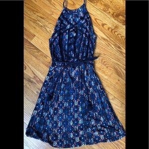 Lucky Brand Patterned Halter Dress W/ Rope Belt